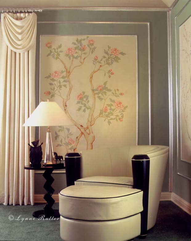 lynne rutter studio murals chinoiserie murals art deco chinoiserie. Black Bedroom Furniture Sets. Home Design Ideas